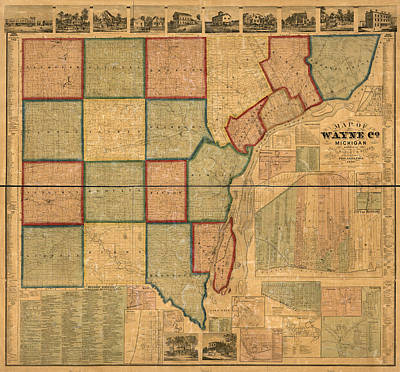 Wayne County Mixed Media - Map Of Wayne County Michigan 1860 by Design Turnpike