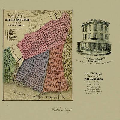 Greenpoint Photograph - Map Of Williamsburgh 1852 by Andrew Fare