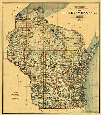 Photograph - Map Of Wisconsin 1896 by Andrew Fare