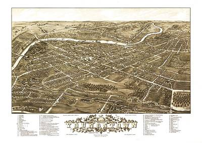 Map Of Youngstown Ohio 1882 Art Print