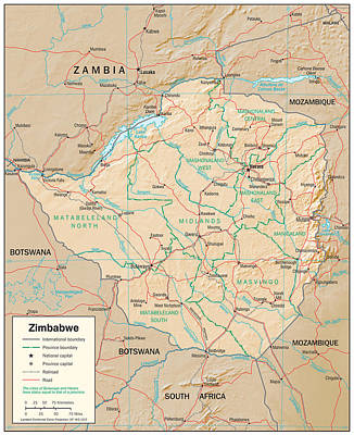 Territory Mixed Media - Map Of Zimbabwe by Roy Pedersen