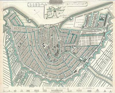 Antique Maps Painting - Map Or Plan Of Amsterdam by Celestial Images
