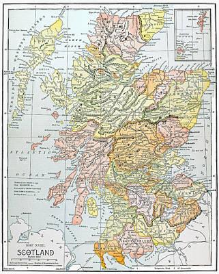 Photograph - Map: Scotland by Granger