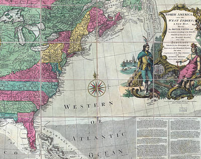Map Showing The 13 British Colonies Print by Everett