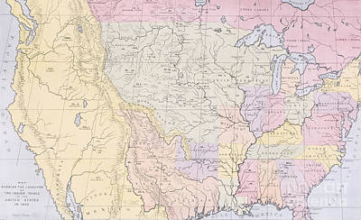 Geographic Painting - Map Showing The Localities Of The Indian Tribes Of The Us In 1833 by Thomas L McKenney and James Hall