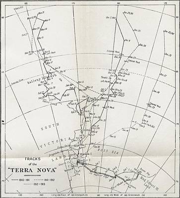 Pole Drawing - Map Showing The Tracks Of Robert Falcon by Vintage Design Pics