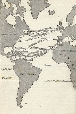 Christopher Columbus Drawing - Map Showing The Voyages Of Christopher by Vintage Design Pics
