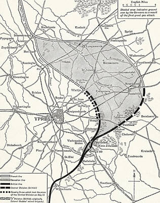 Drawing - Map Showing The Ypres Salient Before And After The Second Battle Of Ypres by English School