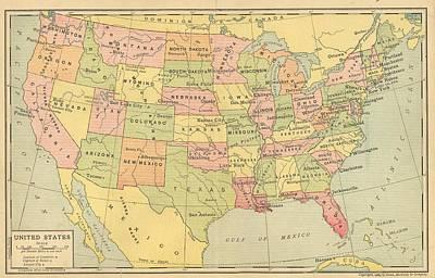 Print featuring the digital art Map Usa 1909 by Digital Art Cafe