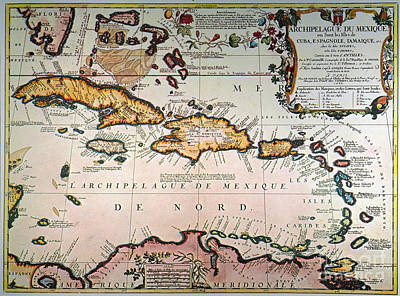 Photograph - Map: West Indies by Granger