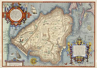 Map With Animals, Ships, Cherubs Art Print by Gillham Studios