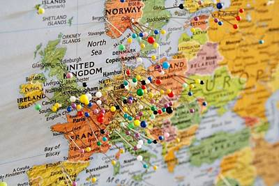 Photograph - Map With Pins by Masha Batkova