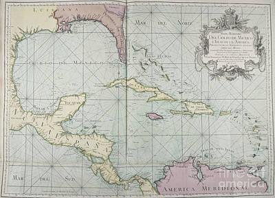 Photograph - Mapa Maritimo Del Golfo De Mexico Gulf Of Mexico Map 1755 by Rick Bures