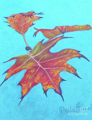 Changing Leaves Drawing - Drifting Into Fall by Phyllis Howard