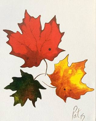 Maple Season Painting - Maple Leaf Trio by Pat Purdy