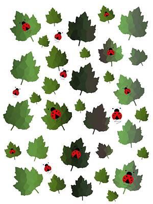 Digital Art - Maple Leaves And Ladybugs by Kathleen Sartoris