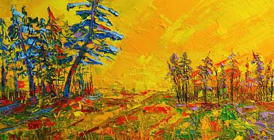 Maple Sky Landscape - Modern Impressionistic Palette Knife Oil Painting Art Print by Patricia Awapara