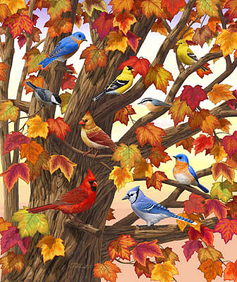 Red Finch Painting - Maple Tree Marvel - Bird Painting by Crista Forest