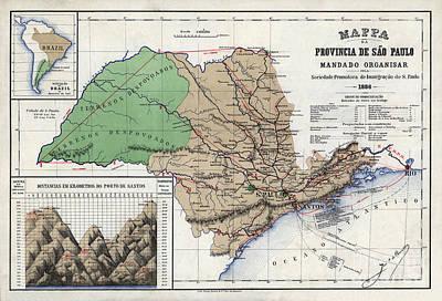 Old Map Painting - Mappa Da Provincia De Sao Paulo - 1886 by Pablo Romero