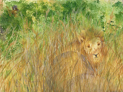 Art Print featuring the painting Mara The Lioness by Vicki  Housel