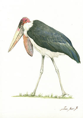 Stork Painting - Marabou by Juan Bosco