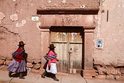 Lintels Photograph - Maras Street Scene Peru by James Brunker