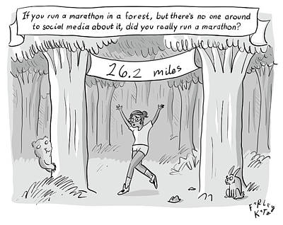 Social Media Drawing - Marathon In The Woods Finish by Farley Katz