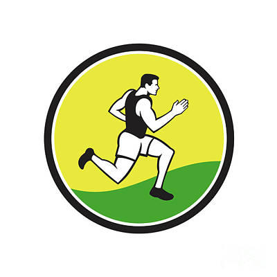 Jogging Digital Art - Marathon Runner Circle Retro  by Aloysius Patrimonio