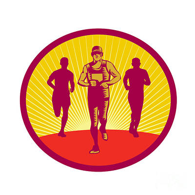 Triathlete Digital Art - Marathon Runner Circle Woodcut by Aloysius Patrimonio