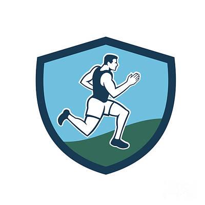 Jogging Digital Art - Marathon Runner Crest Retro  by Aloysius Patrimonio
