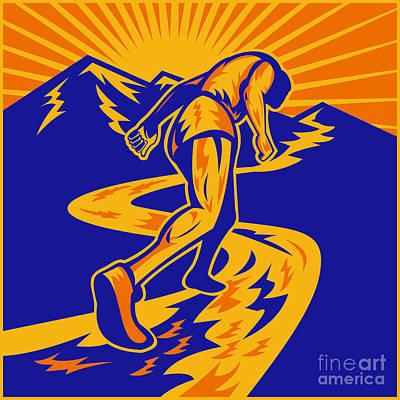 Marathon Runner Or Jogger On Mountain Road  Art Print