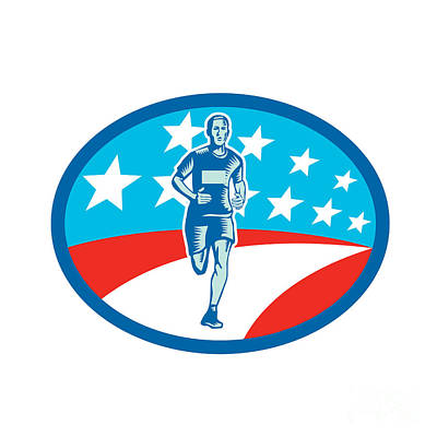 Marathon Runner Usa Flag Oval Woodcut Art Print by Aloysius Patrimonio