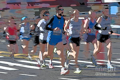 Digital Art - Marathon Runners I by Clarence Holmes