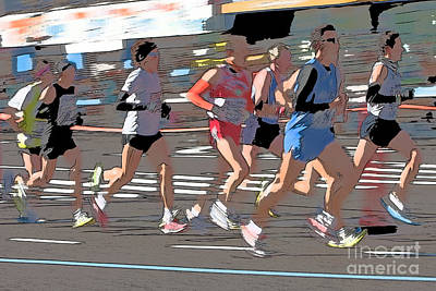 Digital Art - Marathon Runners II by Clarence Holmes