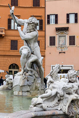 Photograph - Marble Muscles - Fountain Of Neptune Piazza Navona Rome Italy by Georgia Mizuleva