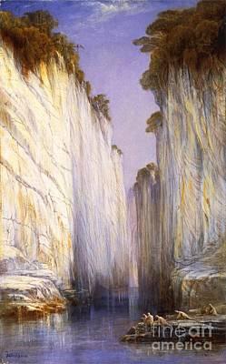 Painting - Marble Rocks - Nerbudda Jubbulpore by Pg Reproductions