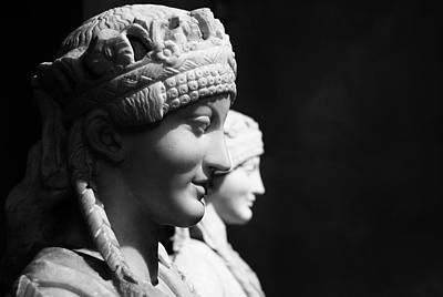 Photograph - Marble Sculptures Capitoline Museum Rome Italy Black And White by Shawn O'Brien