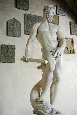 Italy Photograph - Marble Statue Of Ocean By Giambologna In National Museum Of Barg by Reimar Gaertner