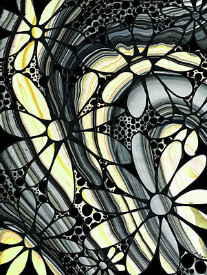 Light Yellow Painting - Marbled - Gray And Yellow Flower Art By Sharon Cummings by Sharon Cummings