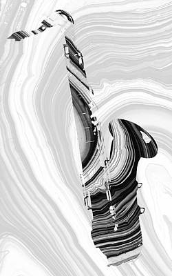 Painting - Marbled Music Art - Saxophone - Sharon Cummings by Sharon Cummings