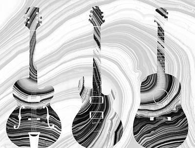 White Marble Painting - Marbled Music Art - Three Guitars - Sharon Cummings by Sharon Cummings