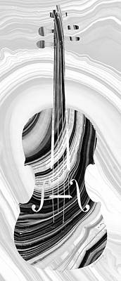 White Marble Painting - Marbled Music Art - Violin - Sharon Cummings by Sharon Cummings