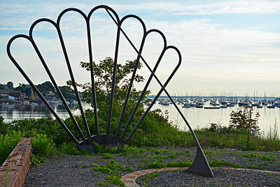 Habor Photograph - Marblehead Harbor Shell Sundial Marblehead Ma by Toby McGuire