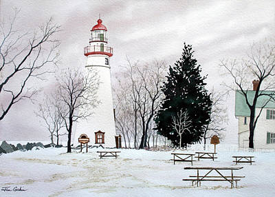 Marblehead Light In Winter Original by Jim Gerkin