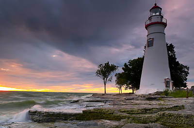 Great Lakes Photograph - Marblehead Lighthouse At Sunrise by At Lands End Photography