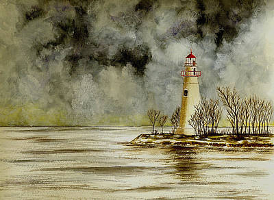 Ohio Painting - Marblehead Lighthouse In The Winter by Michael Vigliotti