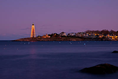 Photograph - Marblehead Lighthouse Lit For Christmas by Jeff Folger