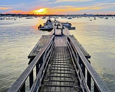Photograph - Marblehead Ma Village Street Dock At Sunset by Toby McGuire