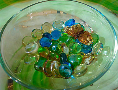 Photograph - Marbles And A Butterfly by Robert Meyers-Lussier