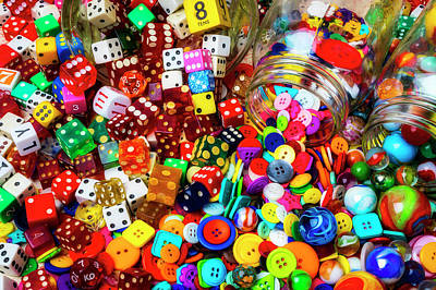 Photograph - Marbles And Dice With Buttons by Garry Gay